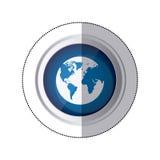 Aufkleberblauer Kreisknopf mit Schattenbildkugel-Erdweltkarte Lizenzfreie Stockfotos