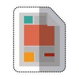 Aufkleberbunter Papierblatttext und -graphiken lizenzfreie abbildung