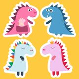 Aufkleberdinosaurier Kühler Dinosauriervektorentwurf Babydesign Dino-Geburtstagssatz Lustige Karikatur des Dinosauriers, Vektor stock abbildung