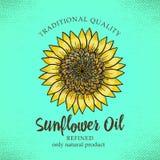 Aufkleberentwurfsschablone für raffiniertes Sonnenblumenöl Vektorillustration mit handdrawn Sonnenblumen auf Türkishintergrund fü stock abbildung