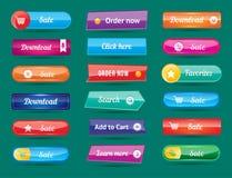 Aufkleberinternet-Schablonenfahne der bunten Websiteknopfdesignvektorillustration glatte grafische Stockfoto