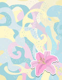 Aufkleberlilie auf aufwändigem Hintergrund für Ihr Design Stockbilder