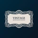 Aufklebervektorrahmen Weinlesefahnendekor Lizenzfreie Stockfotos