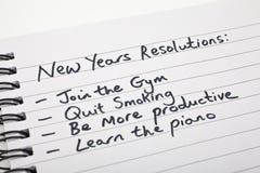 Auflösungen des neuen Jahres Stockbild