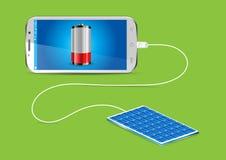Aufladung eines Handys mit einem Solar-powerbank stock abbildung