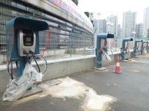 Aufladungsanlagen des Elektro-Mobils Stockfotografie