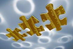 Auflistungs-Puzzle-Stücke auf Lager Stockbild
