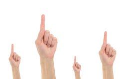 Aufmerksamkeit der Geste vier Hand stockfoto