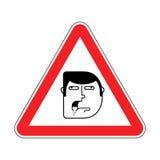 Aufmerksamkeit dumm Vorsicht stumpf Rotes Warnzeichen der Straße Schauen Sie heraus lizenzfreie abbildung