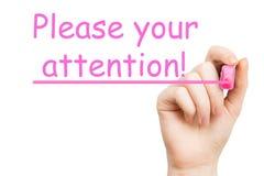 Aufmerksamkeit, rosa Markierung lizenzfreies stockfoto