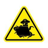 Aufmerksamkeits-Netzpiratenkrake und -laptop Vorsichtzeichen poulpe int lizenzfreie abbildung