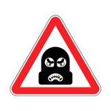 Aufmerksamkeits-Räuber Vorsicht-Gauner Es ist verbotener Einbrecher Roter Ro stock abbildung