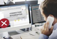 Aufmerksamkeits-wachsame Verbindung unterbrochenes warnendes Konzept Lizenzfreies Stockfoto