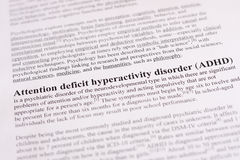 Aufmerksamkeitsdefizit-Hyperaktivitätsstörung oder ADHD. medizinischer oder Gesundheitswesenhintergrund Lizenzfreies Stockfoto