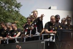 Aufnahme für deutsches Fußballweltmeisterteam in Berlin Stockfotografie