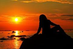 Aufpassen des Sonnenuntergangs Stockfoto