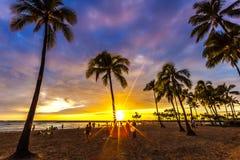Aufpassen des Sonnenuntergangs in Waikiki stockfoto