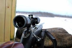Aufpassen und Aufwartung in einen Vorhang bei der Jagd Stockfotografie