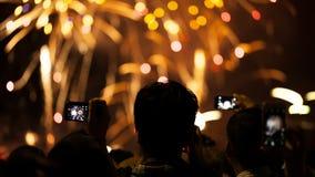 Aufpassende Feuerwerke silhouettierte Menge Feiertagshintergründe stock video footage