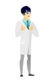Aufpassender Film asiatischen Doktors in den Gläsern 3D Stockfotos