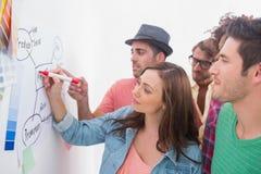 Aufpassender Kollege des kreativen Teams fügen Flussdiagramm hinzu Lizenzfreies Stockfoto