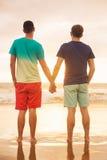 Aufpassender Sonnenuntergang der homosexuellen Paare lizenzfreies stockfoto