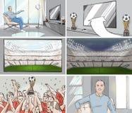 Aufpassender Storyboard Fußball des Mannes Lizenzfreies Stockfoto