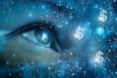 Aufpassendes Geld im Netz stockfoto