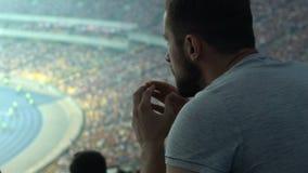 Aufpassendes Sportspiel des männlichen Anhängers am Stadion, konzentriert und aufgeregt, Sorge stock video