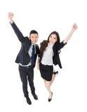 Aufregender Geschäftsmann und Frau lizenzfreie stockfotografie