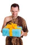 Aufrichtiges Geschenk vom wilden lustigen Mann Stockfotos