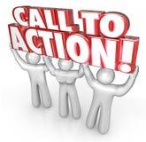 Aufruf zum Handelns-3 Menschen heben Wort-Antwort zur Mitteilung Advertisi an Stockbild