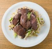 Aufruhr Fried Bean Sprout mit Schwein-Blut-Klumpen Lizenzfreies Stockfoto