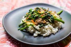 Aufruhr Fried Vegetables mit Reis Stockfoto