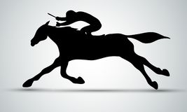 Aufrunden der Kurve Dressage, das Pferdenspringen und Polopferde und -mitfahrer vector Schattenbilder Schattenbild des Laufens mi lizenzfreie abbildung