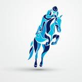 Aufrunden der Kurve Dressage, das Pferdenspringen und Polopferde und -mitfahrer vector Schattenbilder Blaues Schattenbild des Lau lizenzfreie abbildung