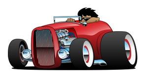 Aufsatzkommode heißer Rod Roadster mit Fahrer Isolated Vector Illustration stockfotos