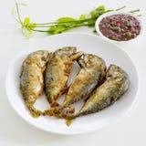 Aufschlag der Garnelenpaste-Paprika-Soße (Nam Prik Ka Pi) mit Fried Indi Lizenzfreie Stockbilder