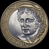Aufschlag eine Münze von 1 wirklich (Brasilien) Stockbild