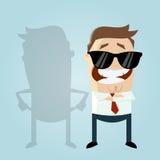 Aufschneidermann und sein schlechter Schatten mit leeren Taschen Lizenzfreie Stockbilder