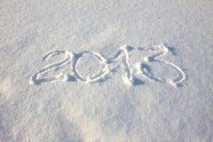 Aufschrift 2013 auf Schnee Lizenzfreie Stockfotos