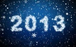 Aufschrift 2013 vom Schnee Stockbild