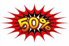 Aufschrift ` 50% ` Stockbilder