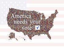 Aufschrift Amerika benötigt Ihre Abstimmung vor Wahl Stockbild