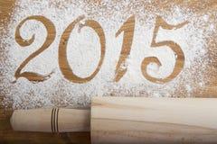 Aufschrift 2015 auf dem hölzernen Hintergrund Stockbilder