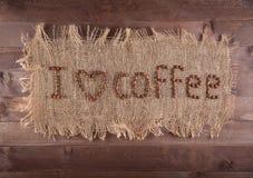 Aufschrift auf dem Segeltuch, liebe ich Kaffee Stockbilder