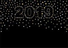 Aufschrift 2019 auf einem schwarzen Hintergrund von Sternen lizenzfreie abbildung