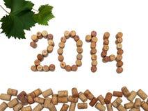 Aufschrift 2014 breitete die Weinkorken aus Stockbilder