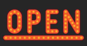 Aufschrift der offenen Lampe Stockbilder