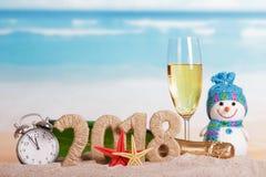 Aufschrift 2018 des neuen Jahres, Flasche und Glas Champagner, snowma Stockfotos